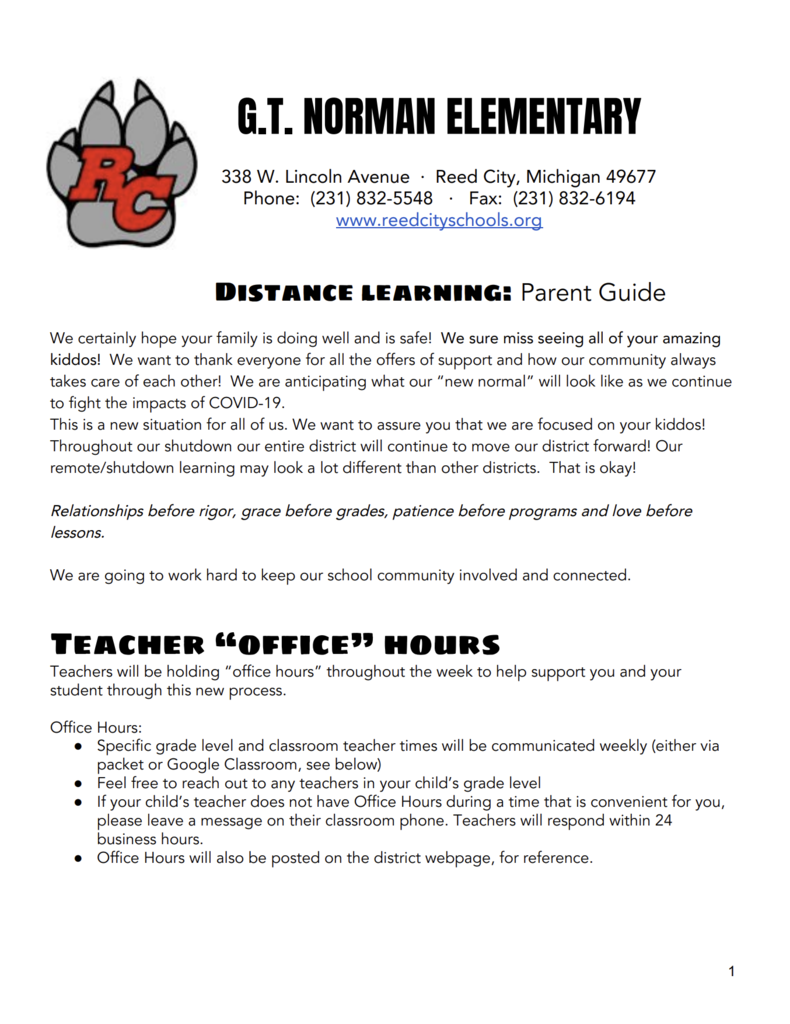 GT Distance Learning Plan Pg 1