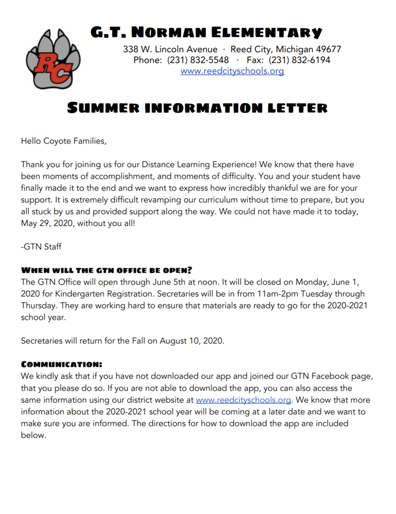 Page1 SummerLetter GT Norman