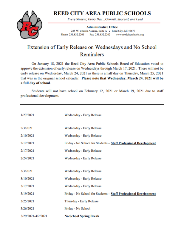 Extension of Early Release - No School Reminders